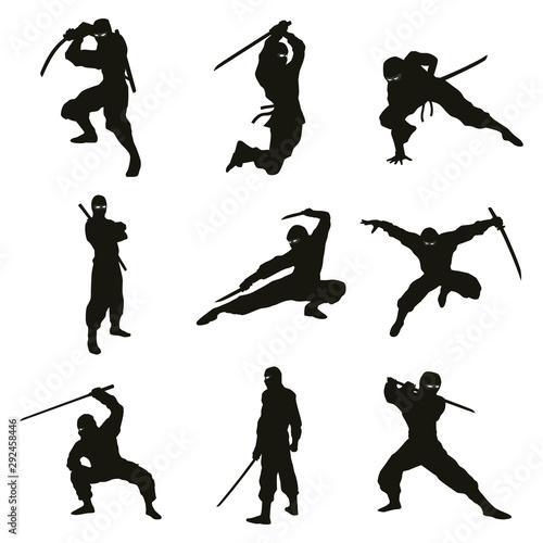 Carta da parati Ninja Silhouettes