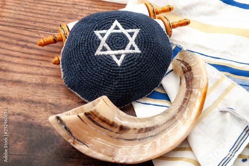 Fototapeta Happy Rosh Hashanah and Yom Kippur conceptual idea with shofar (ram horn), kippa