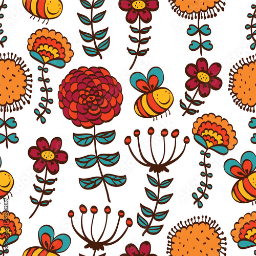 Bees and flowers. Children's vector seamless pattern. Can be used in textile industry, paper, background, scrapbooking.