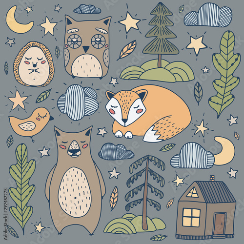 flat-illustration-sleepy-forest-with-owl-bear-hedgehog-fox-the-moon-stars-trees-and-house-perfect-for-print-baby-cloths-print-and-linens