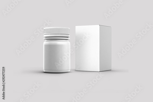 Fotografía  Blank packaging Plastic bottle for medicine product and box isolated on white background