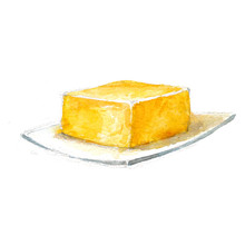Watercolor Botanical, Realistic Illustration, Sketch Of Butter On A White Background