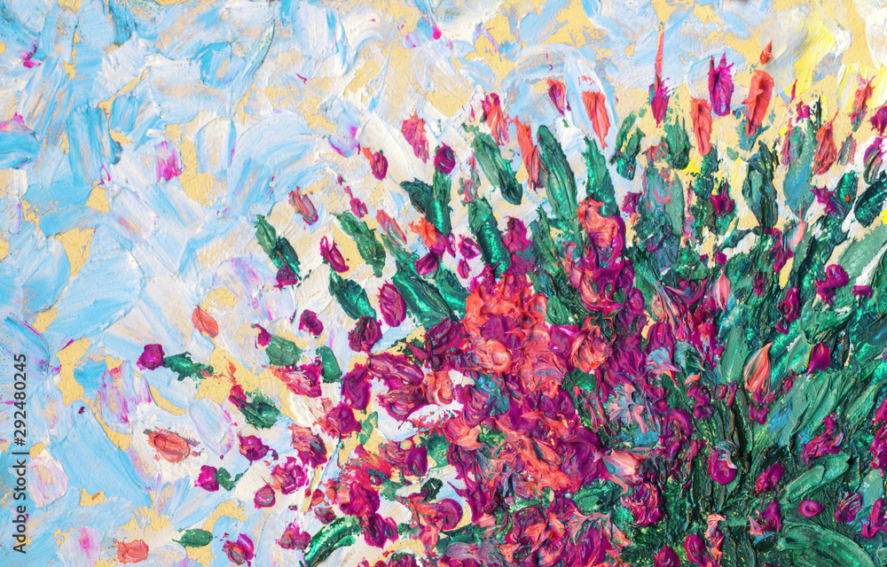 Fototapeta Still life oil. Charming magnificent bouquet of fragrant purple flowers in a dark vase