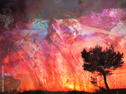 Watercolor landscape with tree over the red sunset. abstract digital art