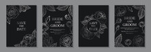 Set Of Luxury Floral Wedding Invitation Design Or Greeting Card Templates With Silver Roses On A Black Background.