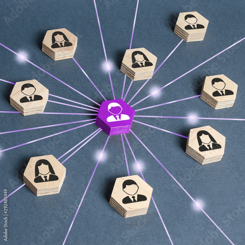 Fototapety, obrazy: The leader is connected with employees by a wide network of lines. At the center of a complex large system. Communication social. Cooperation, collaboration. Project leadership personnel management