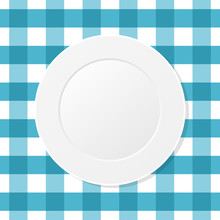 White Plate On A Blue Checkered Tablecloth. Empty Dish On A Kitchen Table Cloth. Seamless Pattern. Table Setting For Dinner. Meal, Plaid Blue Table Cover. Top View. Vector Illustration, Flat,clip Art.