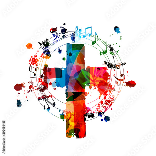 Colorful christian cross with music notes isolated vector illustration фототапет