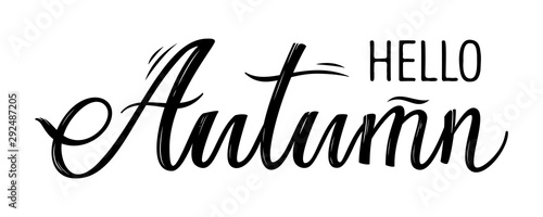 hand drawn lettering hello autumn