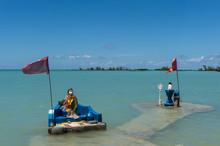 Hindu Shrine Alongside The Anse La Raie Beach On The Tropical Island Of Mauritius,