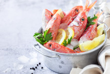 Fresh Striped Red Mullet In A ...