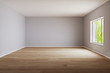 Leinwandbild Motiv Empty room for mockup. Empty room with light wall and wooden floor.3d rendering.