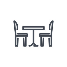 Kitchen Table With Chairs Line Icon. Furniture Vector Outline Sign.