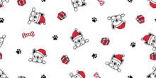 Dog Seamless Pattern Christmas Vector French Bulldog Santa Claus Hat Bone Scarf Isolated Cartoon Repeat Background Tile Wallpaper Illustration Design