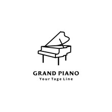 Grand Piano Logo Design Template Design In Line Art Style