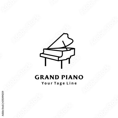 Grand piano logo design template design in line art style Fototapeta