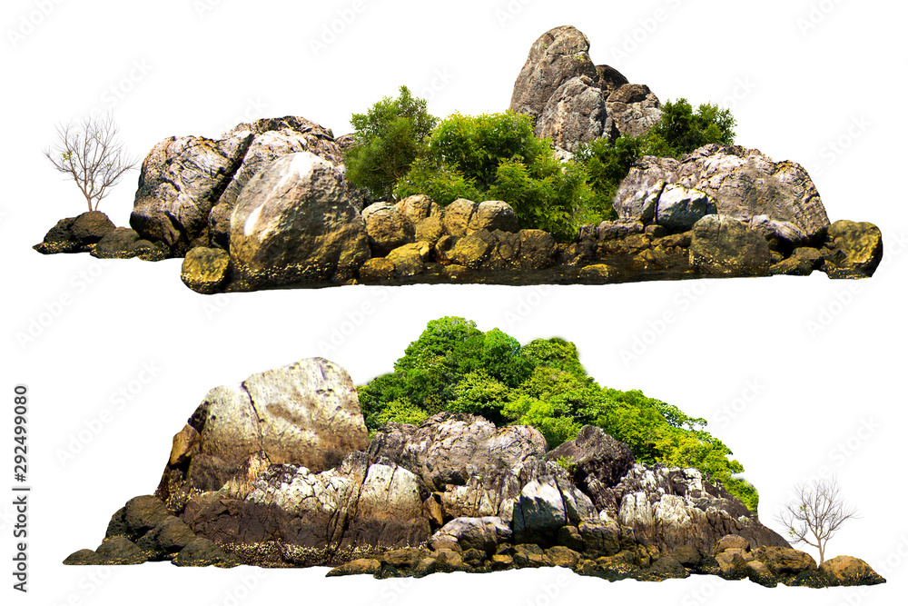 Fototapety, obrazy: The trees. Mountain on the island and rocks.Isolated on White background