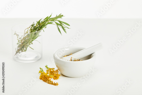 mortar and pestle with herbal mix and and glass with fresh plants on white backg Wallpaper Mural