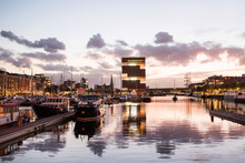 Antwerp, Belgium, Beautiful Night View Of Modern Eilandje Area And Port. Small Island District And Sailing Marine At Sunset. Popular Travel Destination And Tourist Attraction