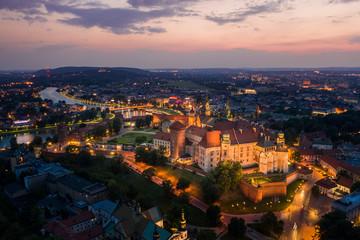 Kraków City at night / aerial view