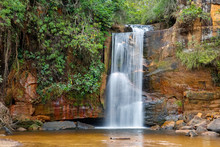 Idyllic Waterfall With Water Motion Blur N Lush Vegetation, Red Rock Formations, Chapada Dos Guimarães, Mato Grosso, Brazil, South America