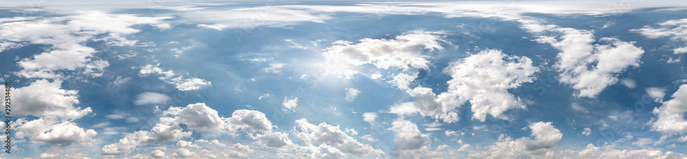 Fototapety, obrazy: Seamless cloudy blue sky hdri panorama 360 degrees angle view with zenith and beautiful clouds for use in 3d graphics as sky dome or edit drone shot