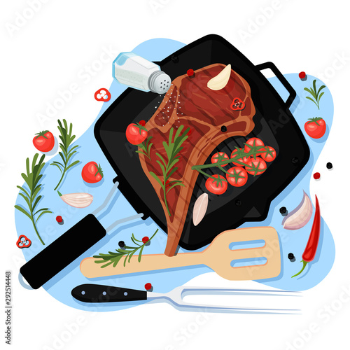 Fototapeta Cooking beef steak, vector top view illustration. Grill pan with fried pork fillet on bone, spices and ingredients obraz