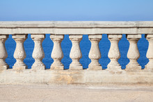 Old Stone Balustrade With Blue Sea And Sky