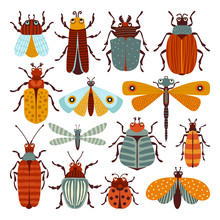 Set Of Illustrations With Beetles And Butterflies. Can Be Used For Scrapbook, Postcards, Print, Etc.