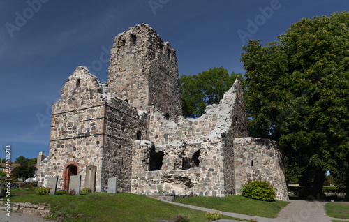 Ruins of St. Olof church. Sigtuna. Sweden. 08.2019 фототапет