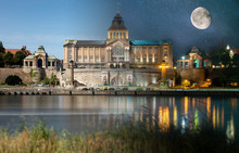 Day And Night View From Across The River To The Illuminated Historic Center. Odra River. Chrobry Embankments In Szczecin