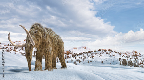 Fotografía  Woolly mammoth scene in environment with snow