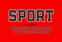 Sports Uniform Style Font, Alphabet Letters And Numbers