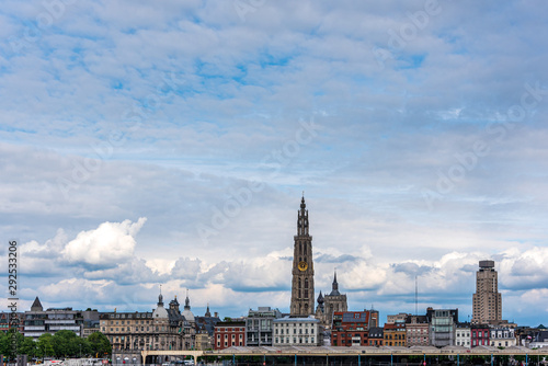Poster Antwerp Antwerp skyline of the city center along the Scheldt river