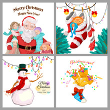 Set Of Winter Christmas Cards. Four Different Vector Designs