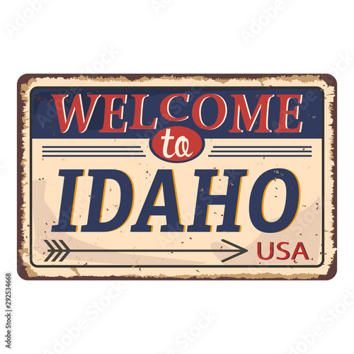 Stand Welcome to Idaho of the United State. Vector illustration. Canvas Print