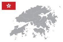 Hong Kong Map. Hong Kong Flag. Flat Icon Symbol Vector Illustration