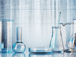 microscope with lab glassware, science laboratory research and development concept
