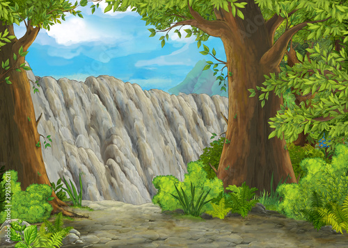 cartoon scene with mountains valley near the forest illustration for children - 292536211