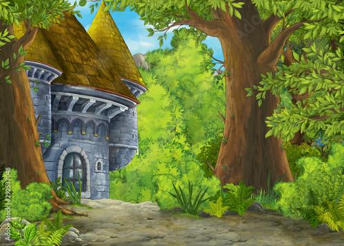 Foto auf Gartenposter Lime grun Cartoon nature scene with beautiful castle - illustration for the children
