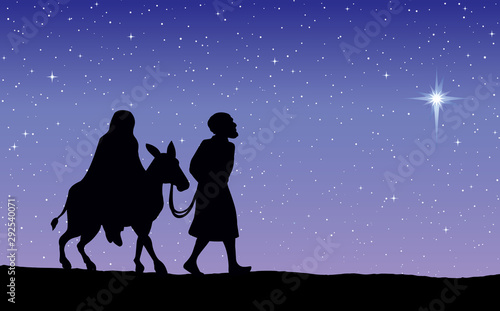 Fotografie, Obraz Joseph Mary go to Bethlehem. Vector drawing