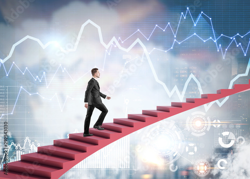Businessman climbing stairs in city, infographics Wallpaper Mural