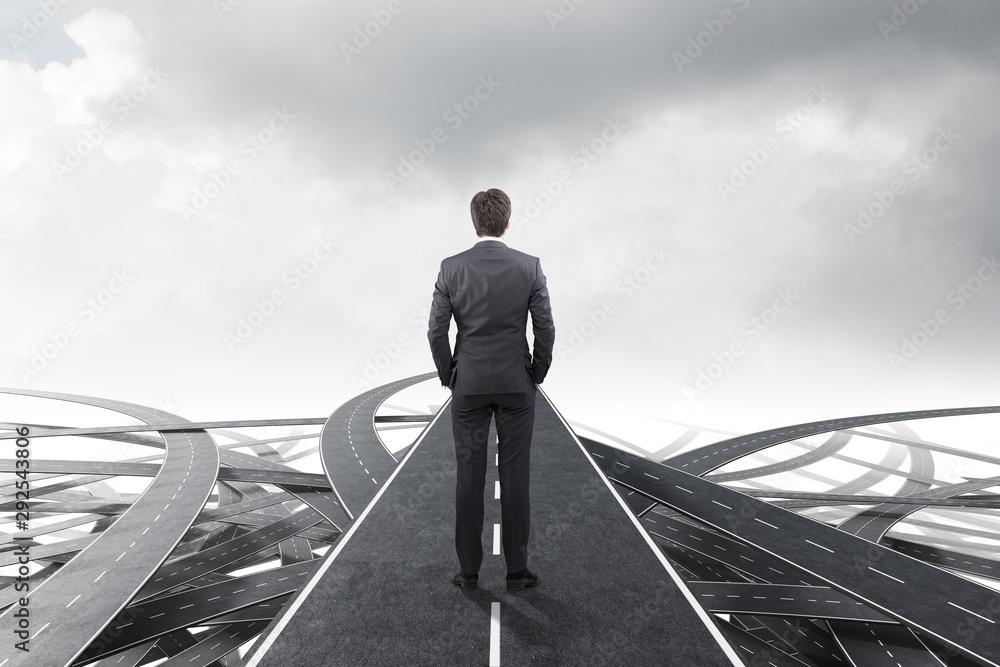 Fototapeta Businessman choosing the right way