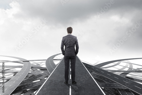 Businessman choosing the right way Wallpaper Mural