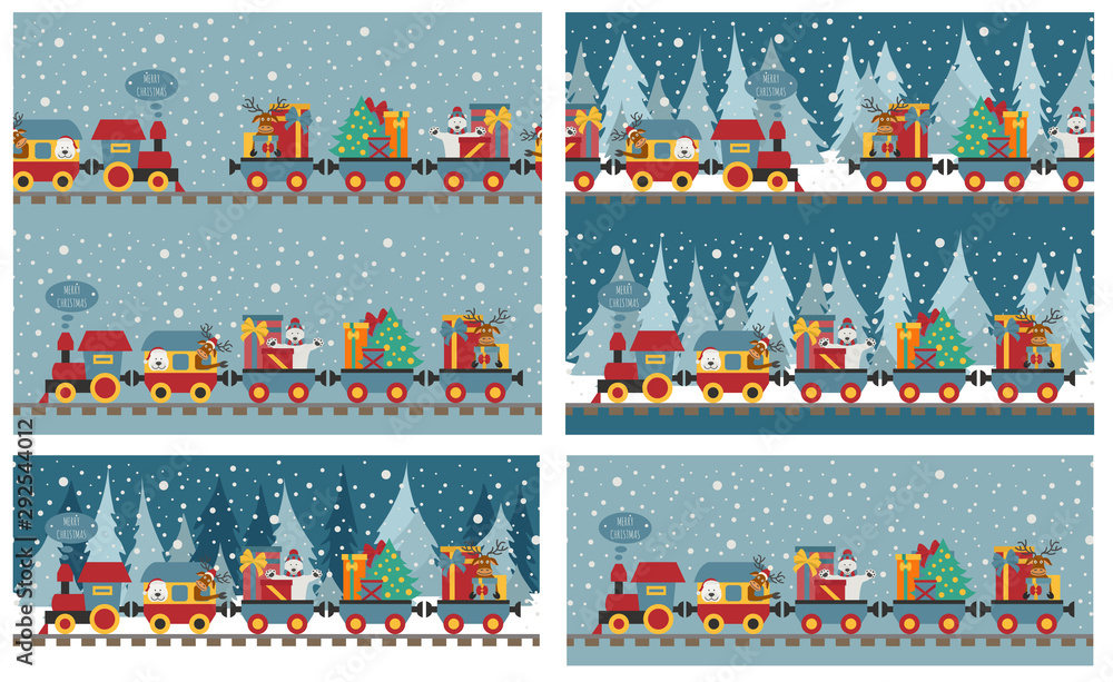 Fototapety, obrazy: Christmas train with bear, reindeer, gifts. Seamless pattern for children