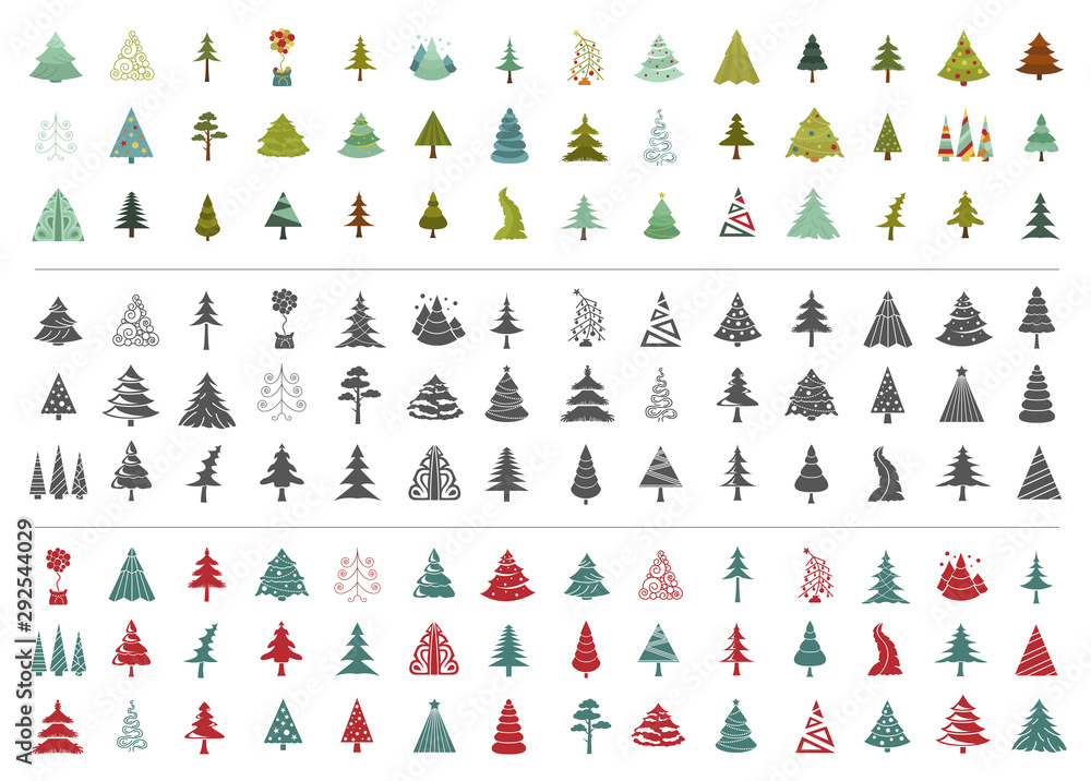 Fototapety, obrazy: Christmas tree icon set. Flat isolated design. New year winter collection