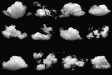 Collection  Group Of White Clouds  On Isolated Elements Black Background.