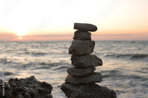 Photo sur Aluminium Zen pierres a sable Dawn by the sea of peace from the landscape, sunset by the ocean balance and relaxation