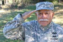 Senior USA Army Soldier Saluting