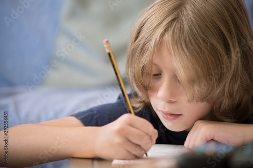 Young boy studying at home Canvas Print